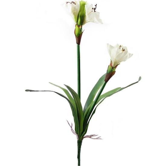 Dekorsende Yapay Yapraklı Amarilis Beyaz