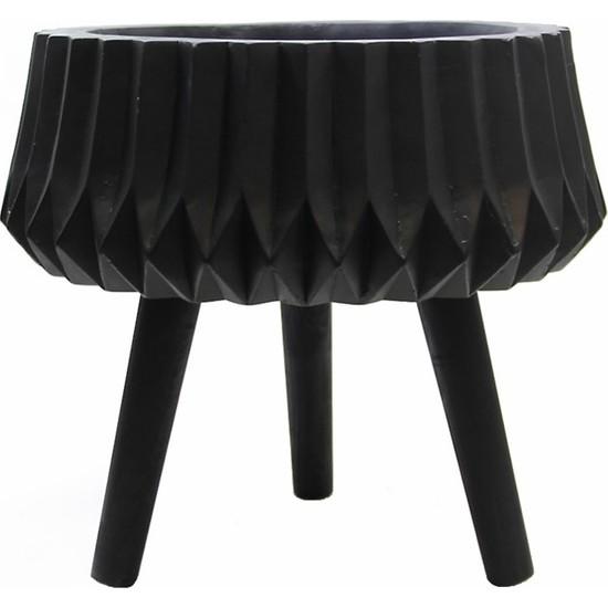 Dekorsende Polyester Saksı Siyah 36 Cm