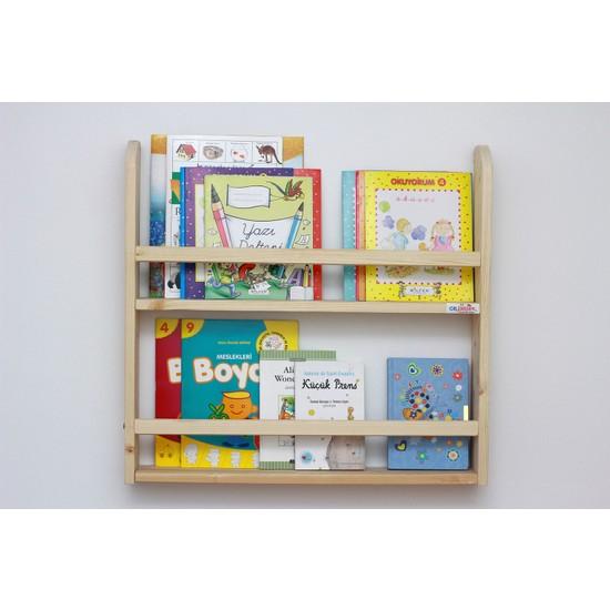 Ceebebek Ahşap Bebek Çocuk Odası Duvar Rafı Kitaplık Eğitici Montessori Raf 2 Katlı