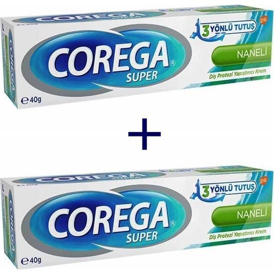 Corega Süper 3 Yönlü Tutuş Diş Protez Yapıştırıcı Krem Naneli 40 gr - 2 Adet