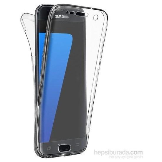 Happyshop Samsung Galaxy S7 Edge Kılıf Şeffaf 360 Derece Tam Kaplayan Silikon