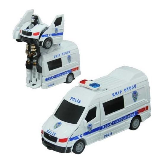 Can Işıklı Ve Sesli Robota Dönüşen Polis Arabası