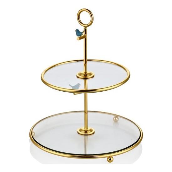 Cemile Kuşlu Altın Kaplama Mavi 2 Katlı Servis 29 cm