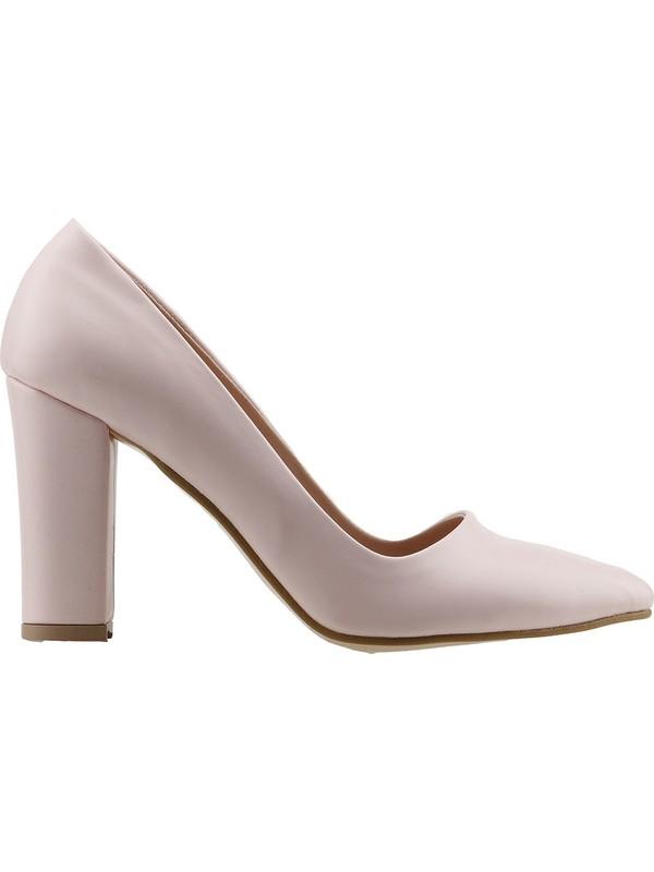 Ayakland 137029-311 Günlük 8 Cm Topuk Kadın Cilt Klasik Ayakkabı Pudra