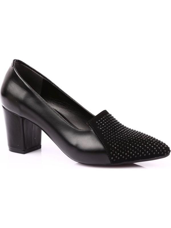 Dgn 607 Kadın Sivri Burun Önü Silver Taşlı Topuklu Ayakkabı Siyah
