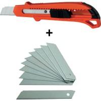Rox Metal Gövde Maket Bıçağı + Yedek Maket Bıçağı 10 Adet Set