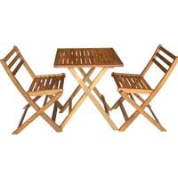 Hepsiburada Home 3'lü Bistro Set Balkon Bahçe Mobilya Takımı Masif Akasya Ağacı 2 Sandalye 1 Masa 55x55CM