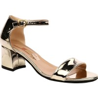 Dgn 205 Kadın Tek Bant Bilekten Bağlı Kısa Topuklu Ayakkabı Altın Ayna