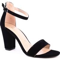 Dgn K1308 Kadın Tek Bant Bilekten Bağlı Topuklu Ayakkabı Siyah Süet