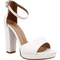 Dgn K307 Kadın Burnu Açık Bilekten Bağlı Platform Taban Lita Topuklu Ayakkabı Beyaz