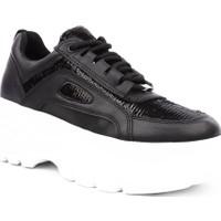 Dgn K99102 Kadın Mega Kalın Taban Sneakers Spor Ayakkabı Siyah Pullu