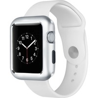 Case Street Apple Watch 42 mm Kılıf Magnetic Cam Full Kapak Gümüş