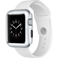 Case Street Apple Watch 44 mm Kılıf Magnetic Cam Full Kapak Gümüş