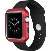 Case Street Apple Watch 44 mm Kılıf Magnetic Cam Full Kapak Kırmızı