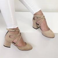 Mio Gusto Nina Bej Topuklu Ayakkabı