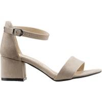 Ayakland Bsm 62 Günlük 5 Cm Topuk Kadın Süet Sandalet Ayakkabı Bej