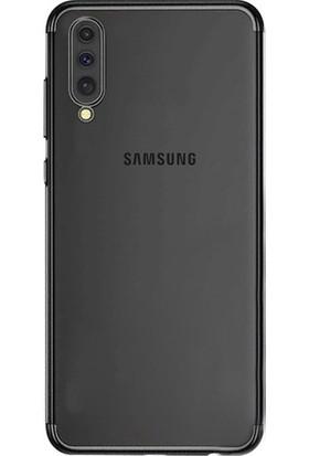 Case 4U Samsung Galaxy A50 Kılıf 4 Köşeli Renkli Lazer Silikon Arka Kapak - Glitter Siyah