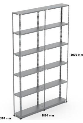 Rafçızade Çelik Raf 31 x 93 3 mt Yükseklik 6 Katlı 2 Ünite