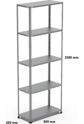 Rafçızade Çelik Raf 43 x 93 2.5 mt Yükseklik 5 Katlı