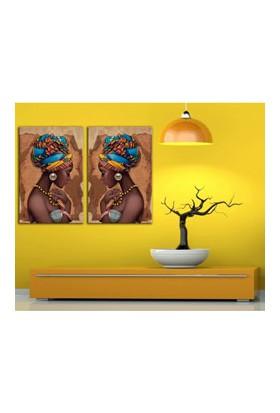 Afrikalı Kadınlar 2 Parça Kanvas Tablo 70 x 100 cm