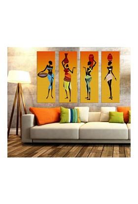 Afrikalı Kadınlar 4 Parça Kanvas Tablo 80 x 100 cm