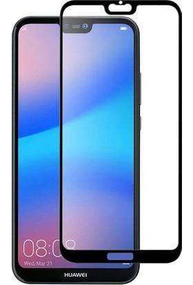Online Huawei P20 Lite Kenarı Kırılmayan Full Yapışan Renkli Cam Ekran Koruyucu - Siyah