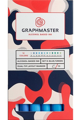 Graphmaster Alcohol Based Ink Markör 12Li Set-D