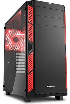 Sharkoon AI7000 Glass Kırmızı 2xFan ATX Kasa