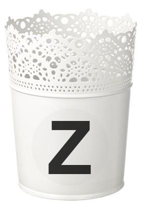 Efso Z Harfi Yazılı Beyaz Sunum Kovası Saksısı Dantelli