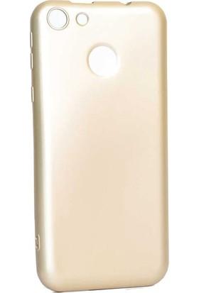 Teleplus Vestel Venüs E4 Lüks Silikon Kılıf Gold + Nano Ekran Koruyucu