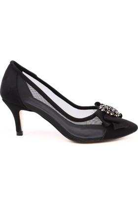 e1faaf7c80c65 ... Dgn 9419 Kadın Sivri Burun Önü Broşlu Yanı Transparan Kitten Heel Topuklu  Ayakkabı Siyah Süet Siyah ...