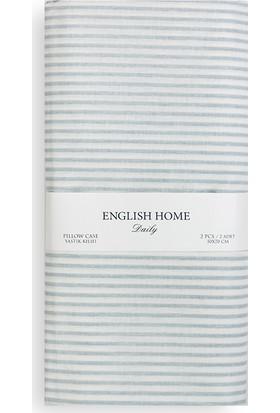 English Home Stripe Pamuklu Yastık Kılıfı 50X70 Cm Mavi