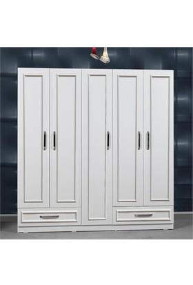 Hepsiburada Home Gm385 Country 5 Kapı 2 Çekmeceli Gardrop Beyaz