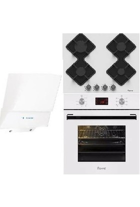 Ferre Medelin Beyaz Cam 3 Lü Dijital 8 Fonksiyonlu Ankastre Set