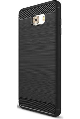 Case Street Samsung Galaxy C9 Pro Kılıf Room Silikon Kılıf + Nano Glass Siyah