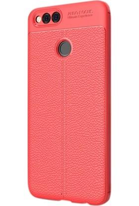 Case Street Huawei Honor 7X Kılıf Niss Silikon Deri Görünümlü+Nano Glass Kırmızı
