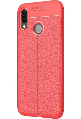 Case Street Huawei P20 Lite Kılıf Niss Silikon Deri Görünümlü+Nano+Kalem Kırmızı