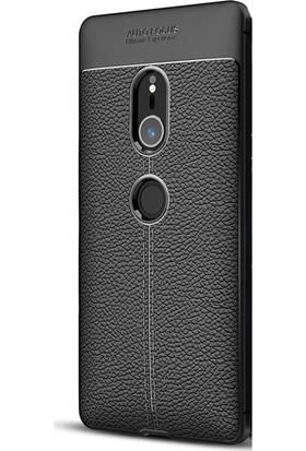 Case Street Sony Xperia XZ2 Kılıf Niss Silikon Deri Görünümlü+Nano Glass Siyah