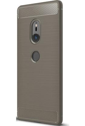 Case Street Sony Xperia XZ2 Kılıf Room Silikon Arka Kapak+Nano Glass Bej