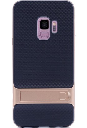 Case Street Samsung Galaxy S9 Kılıf Standlı Tpu Arka Kapak+3D Cam Gold