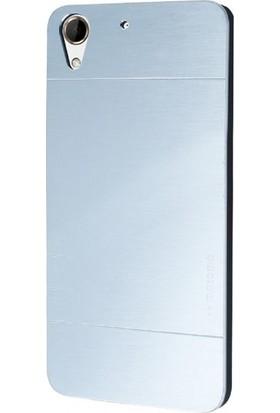 Case Street HTC Desire 530 Kılıf Metal Motomo Arka Kapak Gümüş