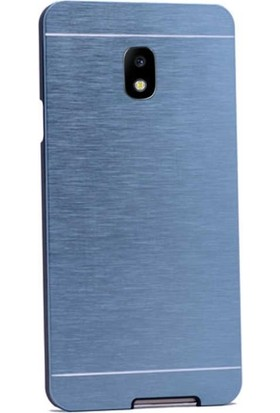 Case Street Samsung Galaxy J7 Pro Kılıf Metal Motomo Koruma+Nano Glass Mavi