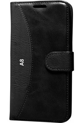 Case Street Samsung Galaxy A8 2015 Kılıf Mmc Cüzdan Kartvizitli Kapaklı Kılıf Siyah