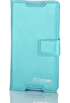 Case Street Sony Xperia Z5 Compact Kılıf Serenity Cüzdan+Nano Glass Turkuaz