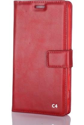 Case Street Sony Xperia C4 Kılıf Serenity Cüzdan Standlı Kırmızı