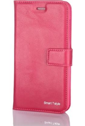 Case Street Vodafone Smart Style 7 Kılıf Serenity Cüzdan Pembe