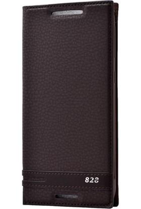 Case Street HTC Desire 828 Kılıf Elite Gizli Mıknatıslı Kapaklı Kahverengi Koyu