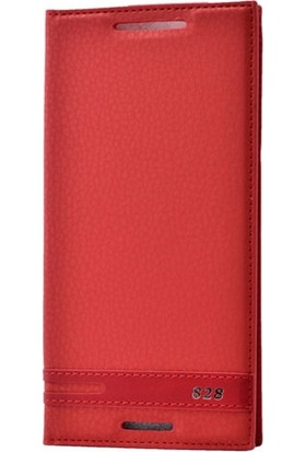 Case Street HTC Desire 828 Kılıf Elite Gizli Mıknatıslı Kapaklı Kırmızı