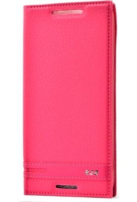 Case Street HTC Desire 828 Kılıf Elite Gizli Mıknatıslı Kapaklı Pembe