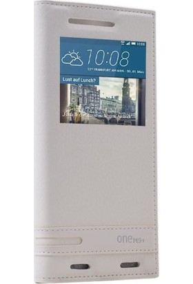 Case Street HTC One M9 Plus Kılıf Elite Gizli Mıknatıslı Kapaklı+Nano Glass Beyaz
